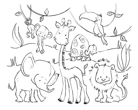 pictures  jungle animals az coloring pages
