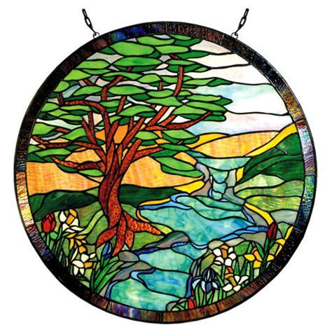 Paul Sahlin Tiffany 1305R Landscape Round Stained Glass