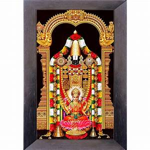 Tirupati Balaji with Laxmi Golden Brown Color Photo Frame