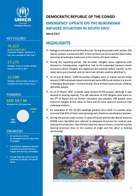 document unhcr drc emergency update  burundian refugee