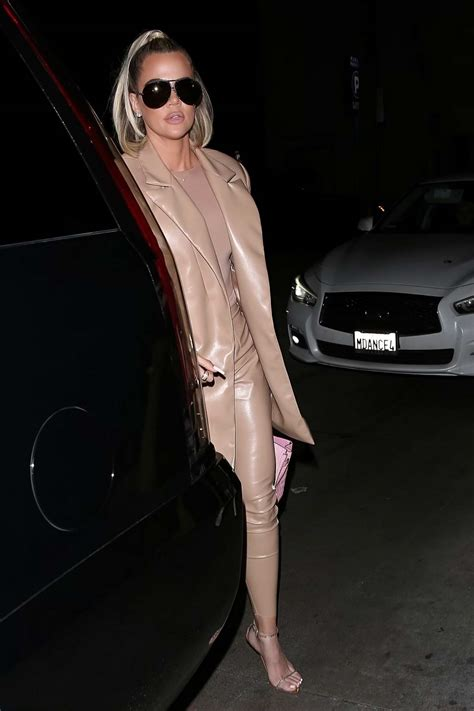 khloe kardashian spotted in a beige leather suit as she ...