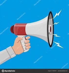 Loudspeaker or megaphone. Announcement element. — Stock ...