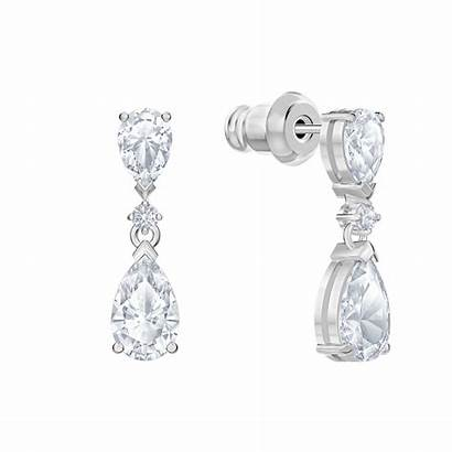 Palace Swarovski Rhodium Pierced Plated Drop Earrings
