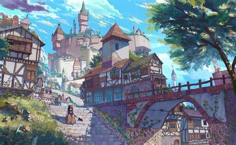 anime scenery scenic art illustration girl tree castle