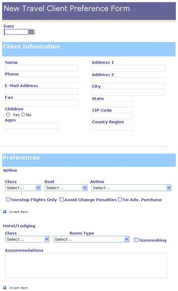 travel client preference form templates travel