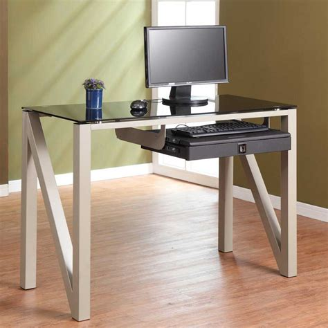 glass computer desks for small spaces small computer desk for office space saver my office ideas