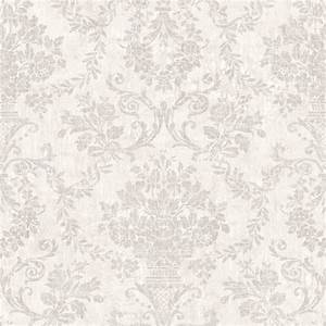OM92102 Light Grey Floral Damask - Fontana - Raymond ...