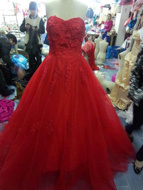 2015 Charming Red Ball Gown Wedding Dresses Floor Length ...