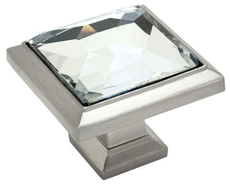 square kitchen cabinet knobs cosmas square cabinet knob satin nickel and clear glass