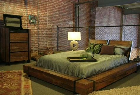bedroom furniture industrial platform bed soft modern contemporary wooden Industrial