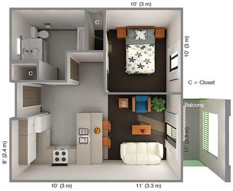 Top Apartment Floor Plans by International House 1 Bedroom Floor Plan Top View