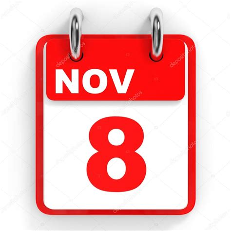 Calendario Sobre Fondo Blanco 8 De Noviembre — Fotos De
