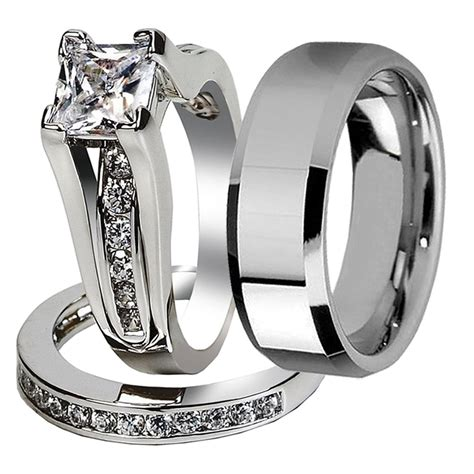 wedding band set his and hers his hers 3 pcs tungsten matching band