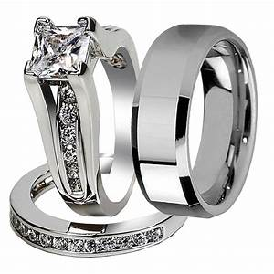 his hers 3 pcs tungsten matching band classic women With engagement rings with wedding band set