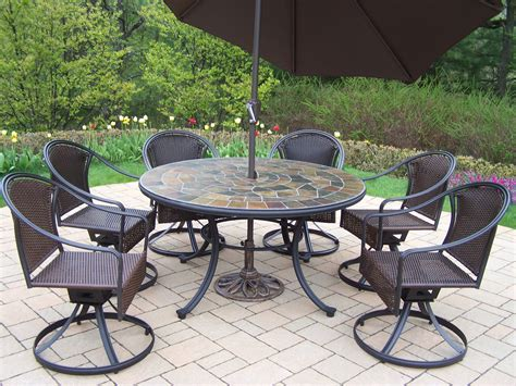 oakland living tuscany 7pc patio set w umbrella