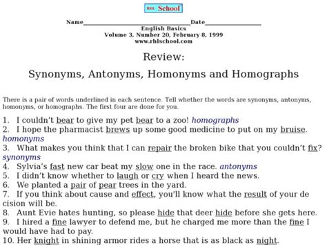 Synonyms, Antonyms, Homonyms And Homographs