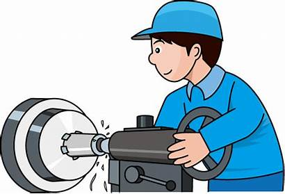 Manufacturing Clipart Lathe Clip Animated Production Worker