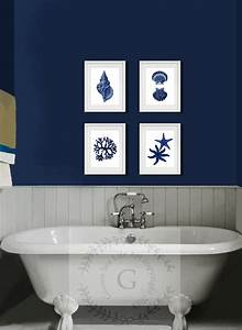 Coastal wall decor navy blue wall art set of 4 beach decor for Blue wall decor