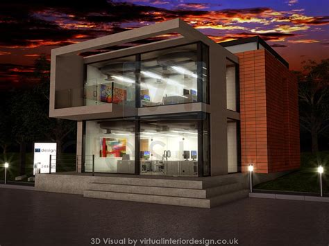 modern office development concrete  glass night time