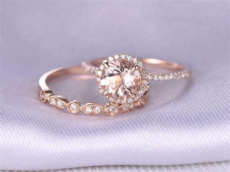 Wedding Rings : Morganite Engagement Ring 2pcs Wedding Ring Set 14k Rose Gold