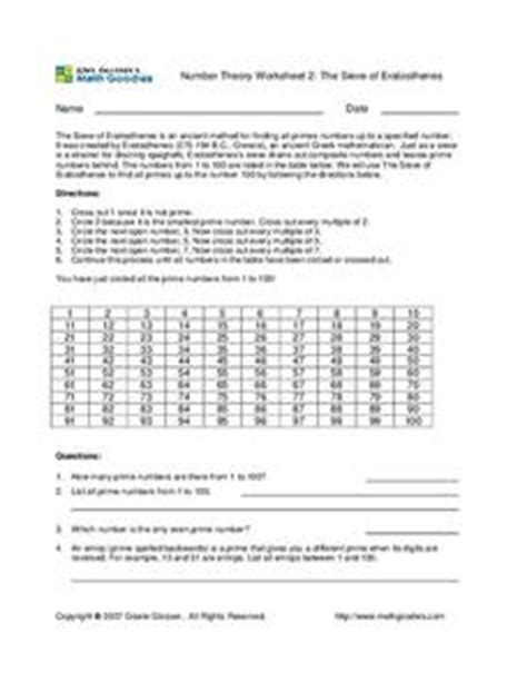 number theory worksheet 2 the sieve of eratosthenes