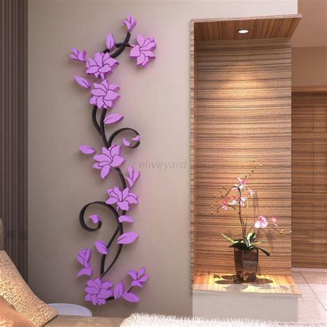 wall decoration stickers 3d vase flower tree diy removable vinyl wall stickers