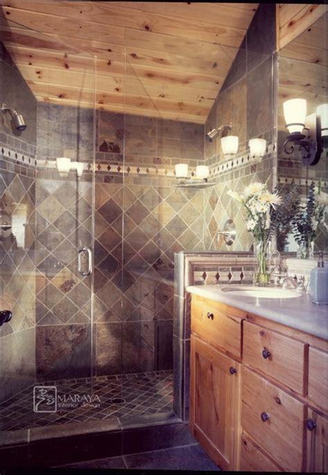slate shower rustic bathroom  metro  maraya