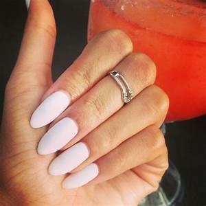 white almond shaped nails nails