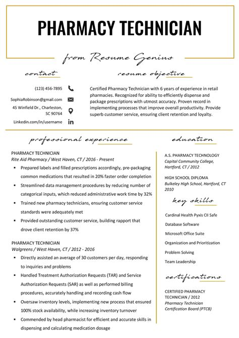 Pharmacy Technician Resume Objective by Pharmacy Technician Resume Exle Writing Tips Resume