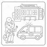 Coloring Doctor Hospital Outline Ambulance Illustration Cartoon Aid Kit Colour sketch template