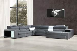 divani casa polaris contemporary bonded leather With modern leather sectional sofa with built in light