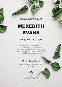 Green Leaves Funeral Invitation