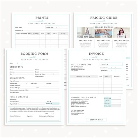 photography form templates bundle simply chic
