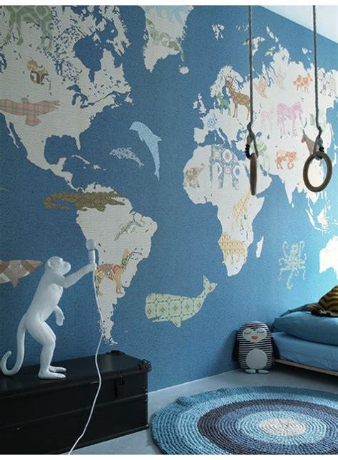papier peint pour enfant carte du monde xl par inke