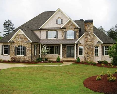 Brick Stone Combination Home Design Ideas, Pictures