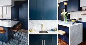 Kitchen design idea deep blue kitchens contemporist for Kitchen cabinet trends 2018 combined with navy blue and white wall art
