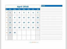April 2018 Calendar WikiDatesorg