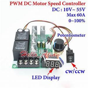 60a Dc12v 24v 36v 48v Pwm Dc Motor Speed Controller Cw Ccw