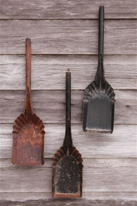 vintage coal shovels metal scoops  stove scuttles