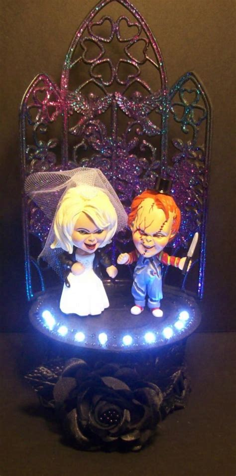chucky  tiffany wedding cake topper gothic bride