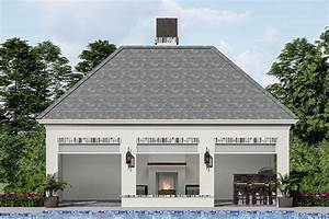 Plan, 510173wdy, Poolhouse, With, Fireplace, In, 2021