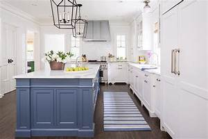 blue kitchen island with blue striped runner With kitchen colors with white cabinets with van gogh wall art
