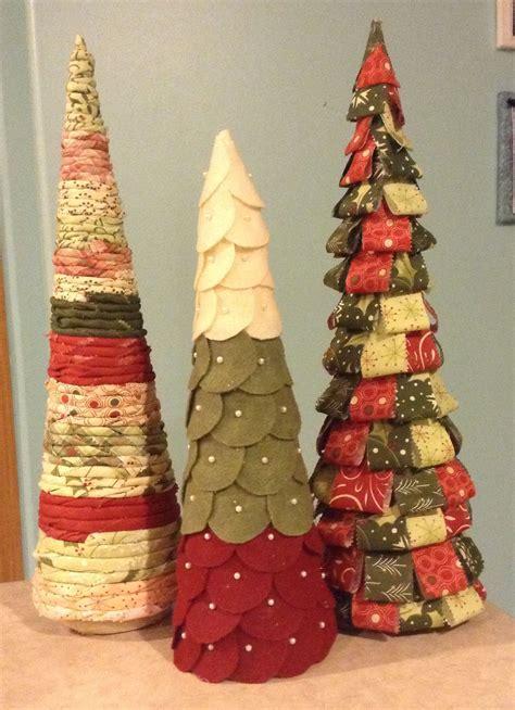 styrofoam cone christmas tree  jelly roll  felt