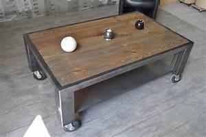Table Basse Ronde Industrielle : table basse bois industriel ~ Teatrodelosmanantiales.com Idées de Décoration