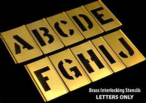 Brass interlocking stencils national stencil for Interlocking letter stencils