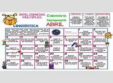 ABRIL 2017 Calendario homework INTELIGENCIAS MÚLTIPLES