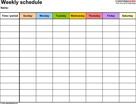 weekly schedule template  word version  landscape