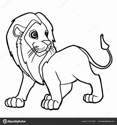 Lion Cartoon Drawing Coloring Getdrawings Vector