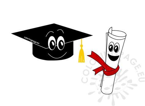graduation cap  diploma cartoon coloring page