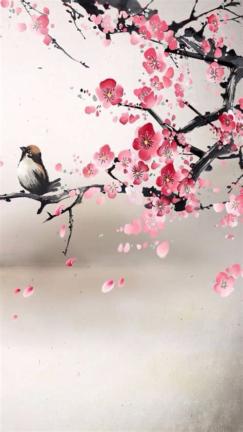 Painting Of Bird And Cherry Blossoms Reminiscent Of